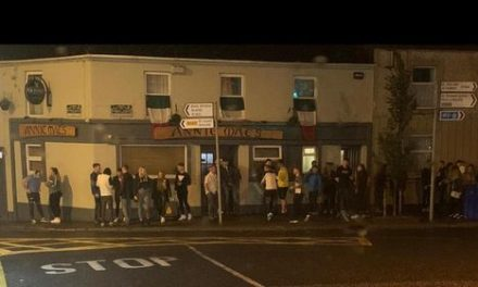 Social distancing 1; Crowds congregate outside a Kells pub